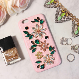 Elegante Apple Iphone CasesCovers con cuero genuino Bling Bling Cristal checo / Diamante Juventud y Dream Lively Pink Color desde fabricantes