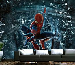 Spiderman murals 3D boys bedroom wallpaper carton wall self-adhesive wallpaper