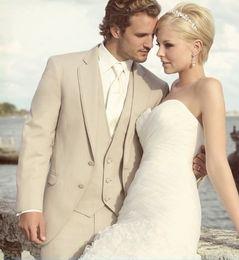 New Arrival Groomsman Groom Tuxedos Custom Made Beige Best man 3 pieces Men Wedding Dinner Prom Bridegroom(Jacket+Pants+Tie+Vest) J502