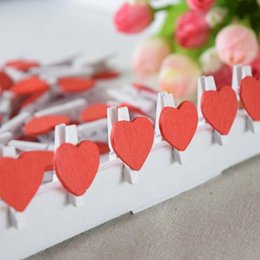 Wholesale Wooden Clips fashion lovely Red Heart shape wooden clips for books messages Korea wooden clips beautiful clips
