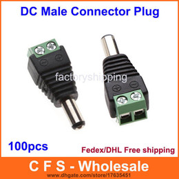 CCTV DC Male Plug DC Jack DC Connector Power Plug for Security CCTV Camera System 2.1 x 5.5mm Free Shipping 100pcs  Lot