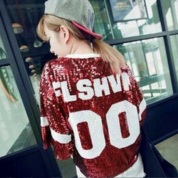 Wholesale 2014 summer new Korean version of casual monogram shiny sequins loose short sleeved T shirt systemic female