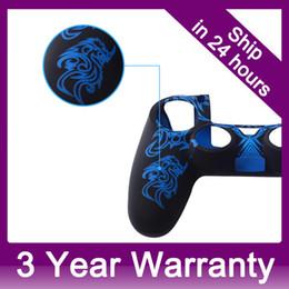 Promotion contrôleur ps4 couvercle du boîtier Technique laser caoutchouc couverture de peau cas pour Sony PS4 Contrôleur Bleu logement afin $ 18Personne piste