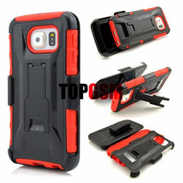 Acheter en ligne Protection téléphone cellulaire-S6 Edge Case Nouveau Hybride TPU + PC X Style Stand Case pour Samsung Galaxy S6 S6 bord avec Clip Haute Qualité Cas de téléphone portable de protection 3 couleurs