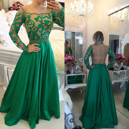 Crew Sheer Neck Prom Dresses Long Sleeves Satin Green Embroidered Dresses Evening Wear Beading Belt Sexy Back 2016 Formal Dresses Evening