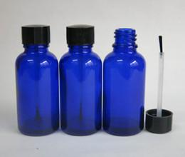 wholesale 30ml Frost Blue Glass Brush Bottle, 30ml Frost Glass Bottle, Blue Essetial Oil Bottle, Serum Brush