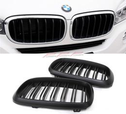 2017 acabado mate Doble rejilla Front Grille Acabado mate Estilo ABS Para BMW X5 / F15 X6 / F16 2014 2015 acabado mate Rebaja