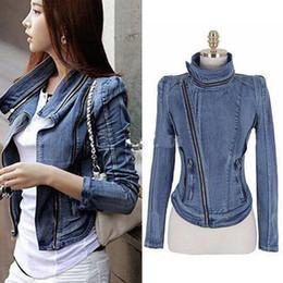 Femmes de mode Vintage Denim Jean Slim Fit Revers Zip Veste Courte Tops Manteau Taille S M L concepteur de jeans veste veste outdoor cheap slim fit denim jackets à partir de mince vestes en denim ajustement fournisseurs