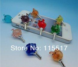 Wholesale Luxury Phone Accessories Glow pig Rhinestone mm Crystal Dust Plug Earphone Plug For Iphone Ipad Samsung HTC Wholesales