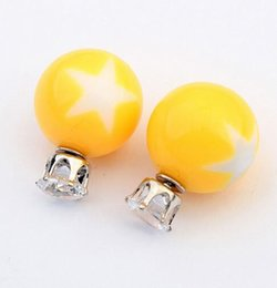 Wholesale 2015 Trendy Unisex Resin Promotion Time limited Earings Fine Jewelry Beautiful Candy Colored Five Pointed Star Pattern Earrings