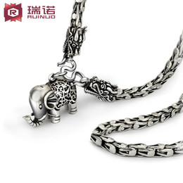 Most of the 925 men's Retro Necklace Silver Silver Chain Necklace long dragon clavicle thick sweater chain