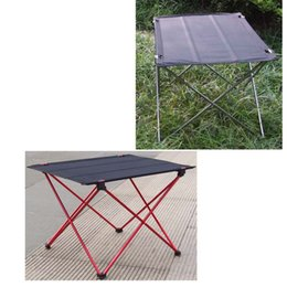 Wholesale Black Grey Ultra light Portable Foldable Aluminium Alloy Holder Table Outdoor Camping Picnic Folding Tables Desk order lt no track