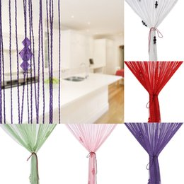 Wholesale Screen Divider Free Shipping - Free Shipping Beaded Acrylic String Window Home Decor Curtain Divider Crystal Beads Curtain Tassel Screen Panel 6 Colors Best