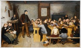 Wholesale Village School by Albert Anker Large Wall Pictures for Living Room H