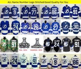 Tampa Bay Lightning Hockey Jersey 9 Johnson 30 Ben Bishop 77 Victor Hedman 91 Steven Stamkos 86 Kucherov 2015 Stanley Cup Finals