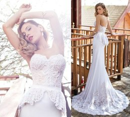 Julie Vino 2015 White Mermaid Wedding Dresses Sweetheart Pearls Embroidery With Lace Peplum Bridal Gowns Chapel Train