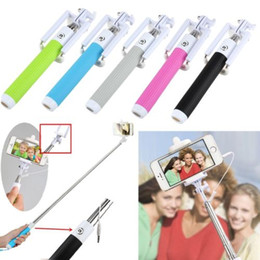 Wholesale 2015 Extendable Folding Selfie Stick Monopod With Audio Cable Wired Remote Equipment For iPhone IOS SAMSUNG Android with retail box