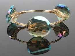 Wholesale LuReen Retail Faceted Clear Crystal Green Round Shine with AB coating Transparent Alloy Bangle Iron wire Glass bead Good wristed workmanship