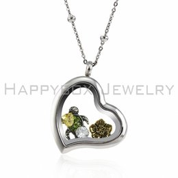 Wholesale stainless steel silver heart floating charms locket necklace pendant for women free shipping