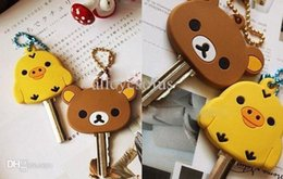 Wholesale-Kawaii SAN-X Rilakkuma BEAR 4Designs- 4CM Rubber KEY Cover Shell Chain Hook Cap Case ; Key Cover Coat Wrap Coat Cover KEY CAP