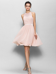 New Sleeveless Knee-length Chiffon Bridesmaid Dress - Pearl Pink A-line Jewel