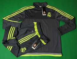 Wholesale Real Madrid away blac soccer tracksuit full sleeve designer football hoody adult s outdoor sport jerseys men s athletic training long pants