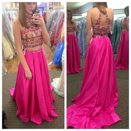 2016 Charming Two Pieces Long Prom Gowns Beaded Sequins Top High Neck Arabic Indian Party Graduation Dresses Bright Rose Red Custom Made
