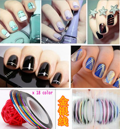 Wholesale- DIY Nail Art Sticker 10pcs Mixed Colors Rolls Striping Tape Line Nail Art Decoration Sticker