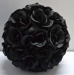 Black color silk kissing roses flower ball artificial silk flower ball 25cm diameter