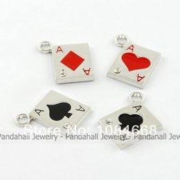 Wholesale Alloy Enamel Pendants with Rhinestones Poker Ace Mixed Color about mm long mm wide mm thick hole mm