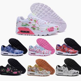 Discount Shoes Run Air Max 2016 New Female air mesh max 90 TKO shoes fashion women Rose flower print run sneakers design popular brand sports running shoes 36-40