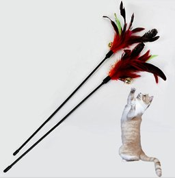 Wholesale 2015 New PC Fashion Hot Cat Play Feather Teaser rod wand flexible fun long toy cm