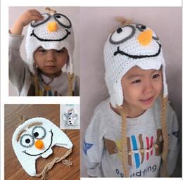 Wholesale 2014 FROZEN Handmade Crochet Frozen Olaf Hat Children s Knitted Caps Newborn Infant Toddler Hats Kids Winter Beanie Skullcap Earflaps