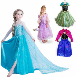 Wholesale only Retail frozen dress New girls Elsa amp Anna frozen Dress For Girl Princess Dresses party costume