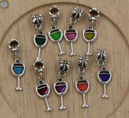 Wholesale Hot color Enamel Wine Glass Goblet Drink Dangle Charm Bead fit European Bracelets x mm Z211