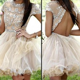 Sexy Backless Cocktail Dresses A Line Illusion Crew Neck Luxury Crystals Appliques Tulle Homecoming Party Gowns with Cap Sleeves Open Back
