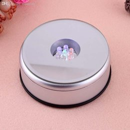 Wholesale-Unique Small Round Rotating Crystal Jewelry Display Base Stand Holder LED Light