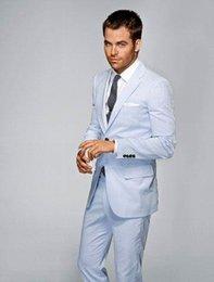 Wholesale 2016 Light Blue Mens Suits Notched Lapel Wedding Suits For Men Two button groom Tuxedos Groomsmen suits two piece Suit Jacket Pants tie D7