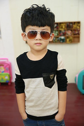 Boys Round Neck Shirts Boys Knitted Shirt baby Boy Gray Casual Pullover Long Sleeve T Shirt 5pc lot