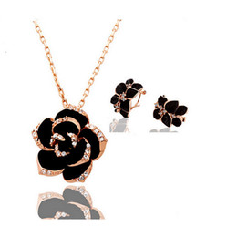 Fashion Rose Flower Necklace Earrings Sets 18KGP Rhinestone Jewelry Sets For Women Best Gift Bride Jewelry Sets 1223