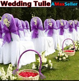 Wholesale Hot Romantic wedding M Meters Long Roll Tulle Organza Voile Sheer Fabric Sashes For Wedding Decorations Arch Chair Car Home Party