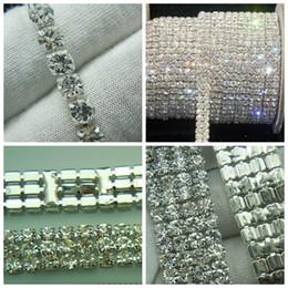 Wholesale Close Trimmer - Hot ! 1-Row 2-Row 3-Row 4-Row crystal rhinestone trims close chain silver ss16 x 5 yard