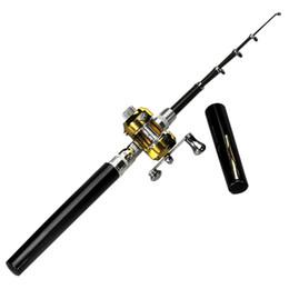 Compra Online Caña de pescar en venta-NUEVA venta caliente mini telescópica PortablePocket aleación de aluminio de la pluma de pesca Rod poste Carrete Negro de fibra de vidrio para negro pista $ 18Nadie accesorio