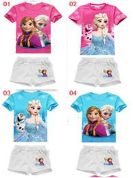 Girls Frozen 2pcs Outfit Set Children cartoon anna elsa Tops+short Girls Clothes Children suits sets KIds New Summer Sets