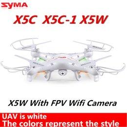 2016 drones de caméras aériennes Gros-Syma x5C Upgrade Syma x5C-1 2.4G 4CH 2.0MP aérienne RC Helicopter Quadcopter Toys Drone ou Syma X5W Avec Wifi FPV caméra en temps réel abordable drones de caméras aériennes