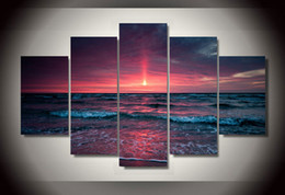 Wholesale Sea Poster Landscape - 5 Panel Framed Printed beach sea Group Painting children's room decor print poster picture canvas wall art sets Free shipping