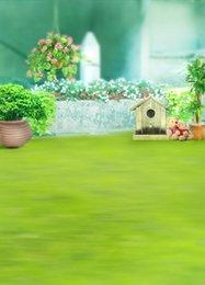 Promotion bébé toiles de fond la photographie de vinyle 200cm * 150cm (6.5ft * 5ft) arrière-plan Green Grass Flower Dessus de photographie pour bébé toile de fond de toile de fond 1001