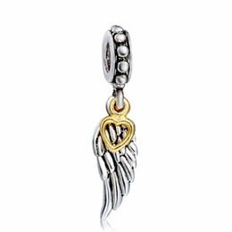 Corazón del oro de la pulsera 925 en venta-Venta caliente del corazón del oro al por mayor del ala pendiente del encanto 925 plata esterlina encanto de la cadena europea apta del grano de la serpiente de las pulseras de la manera DIY Joyería