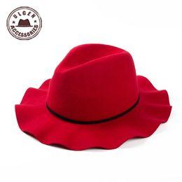 Wholesale-New designed Novelty Soft Women Vintage Wide Brim Wool Felt Bowler Fedora Hat red hat women's winter hats [HYJ153g3500]
