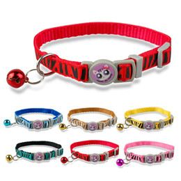 Wholesale 1 cm Width Zebra Prited Nylon Kitten Kitty Cat Collar with Bell cm Ajustable Pet Products